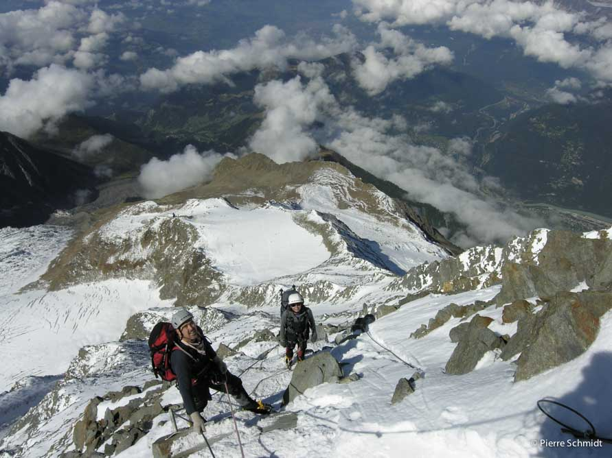 Scrambling on Aiguille du Gouter toward the Gouter refuge